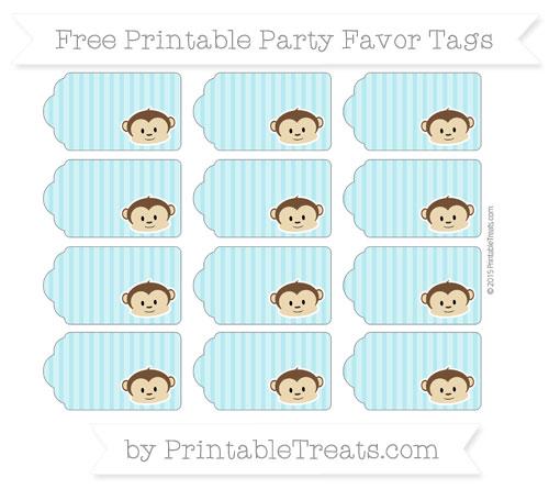 Free Pastel Teal Thin Striped Pattern Boy Monkey Party Favor Tags