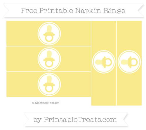 Free Pastel Yellow Baby Pacifier Napkin Rings