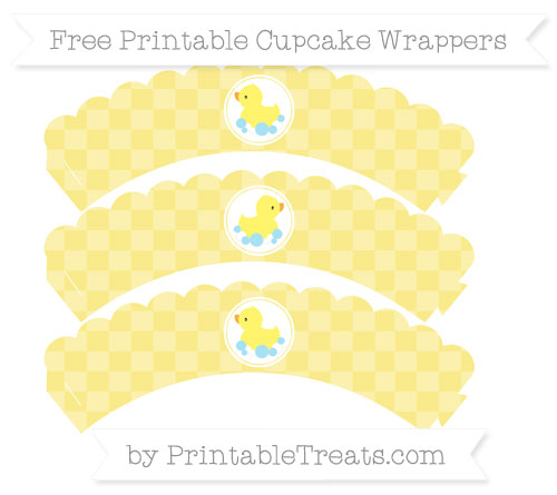 Free Pastel Yellow Checker Pattern Baby Duck Scalloped Cupcake Wrappers