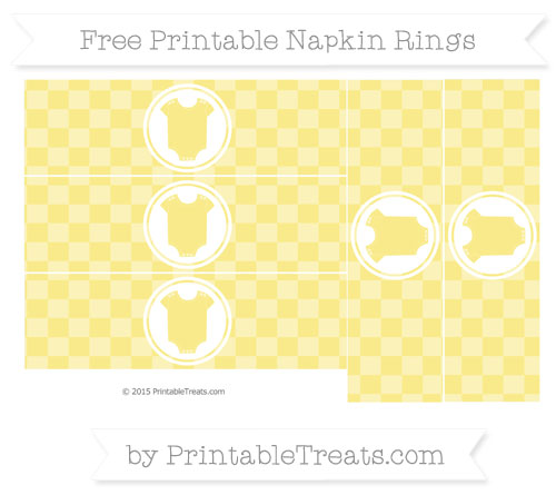 Free Pastel Yellow Checker Pattern Baby Onesie Napkin Rings