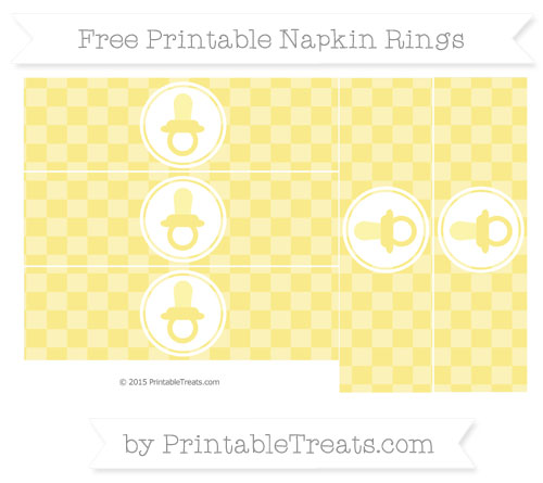 Free Pastel Yellow Checker Pattern Baby Pacifier Napkin Rings