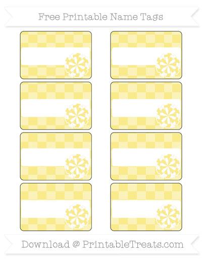 Free Pastel Yellow Checker Pattern Cheer Pom Pom Tags