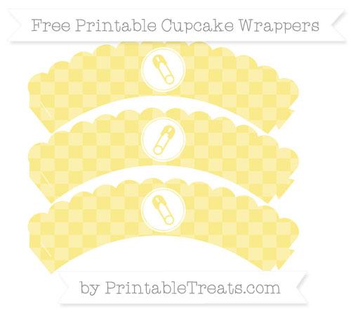 Free Pastel Yellow Checker Pattern Diaper Pin Scalloped Cupcake Wrappers