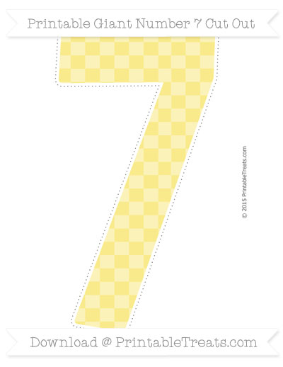 Free Pastel Yellow Checker Pattern Giant Number 7 Cut Out