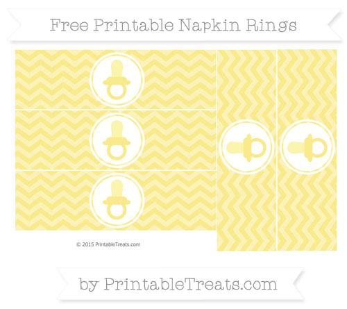 Free Pastel Yellow Chevron Baby Pacifier Napkin Rings