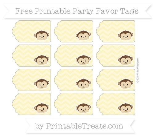 Free Pastel Yellow Chevron Boy Monkey Party Favor Tags