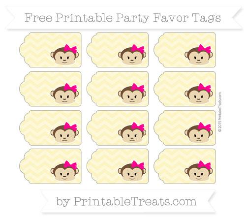 Free Pastel Yellow Chevron Girl Monkey Party Favor Tags