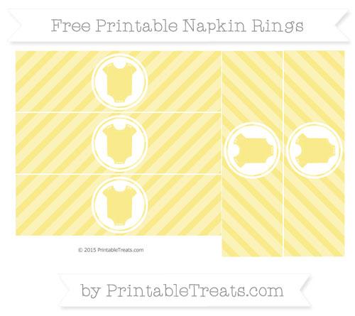 Free Pastel Yellow Diagonal Striped Baby Onesie Napkin Rings