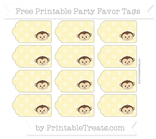 Free Pastel Yellow Dotted Pattern Boy Monkey Party Favor Tags