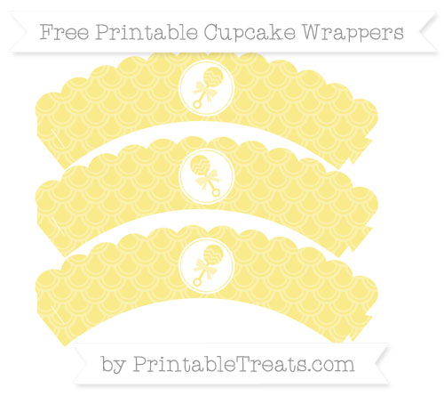 Free Pastel Yellow Fish Scale Pattern Baby Rattle Scalloped Cupcake Wrappers