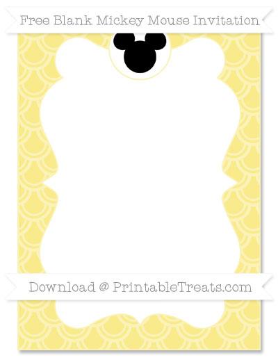 Free Pastel Yellow Fish Scale Pattern Blank Mickey Mouse Invitation