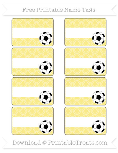 Free Pastel Yellow Fish Scale Pattern Soccer Name Tags