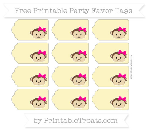 Free Pastel Yellow Girl Monkey Party Favor Tags
