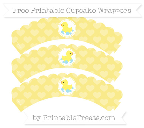 Free Pastel Yellow Heart Pattern Baby Duck Scalloped Cupcake Wrappers