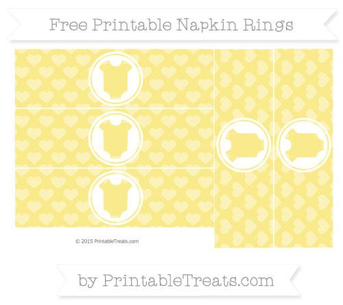 Free Pastel Yellow Heart Pattern Baby Onesie Napkin Rings