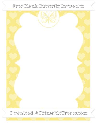 Free Pastel Yellow Heart Pattern Blank Butterfly Invitation