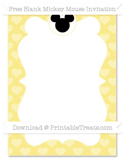 Free Pastel Yellow Heart Pattern Blank Mickey Mouse Invitation