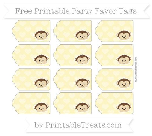 Free Pastel Yellow Heart Pattern Boy Monkey Party Favor Tags