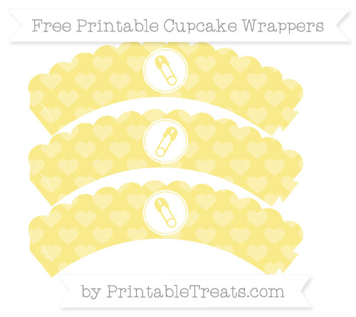 Free Pastel Yellow Heart Pattern Diaper Pin Scalloped Cupcake Wrappers