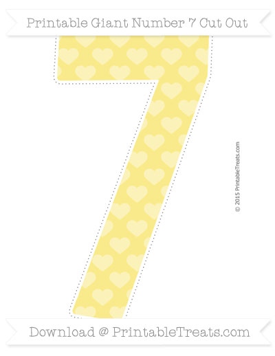 Free Pastel Yellow Heart Pattern Giant Number 7 Cut Out