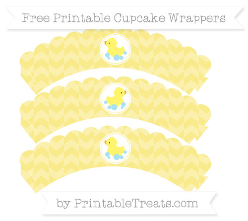 Free Pastel Yellow Herringbone Pattern Baby Duck Scalloped Cupcake Wrappers