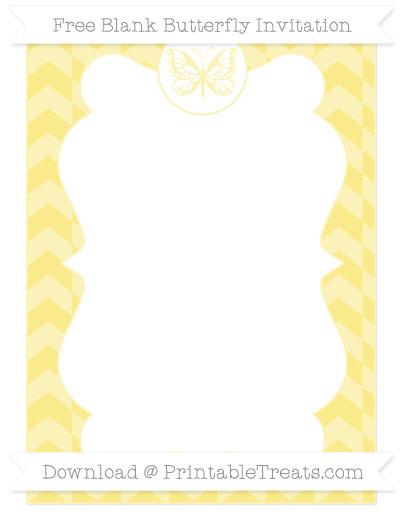 Free Pastel Yellow Herringbone Pattern Blank Butterfly Invitation