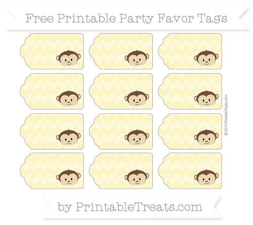 Free Pastel Yellow Herringbone Pattern Boy Monkey Party Favor Tags