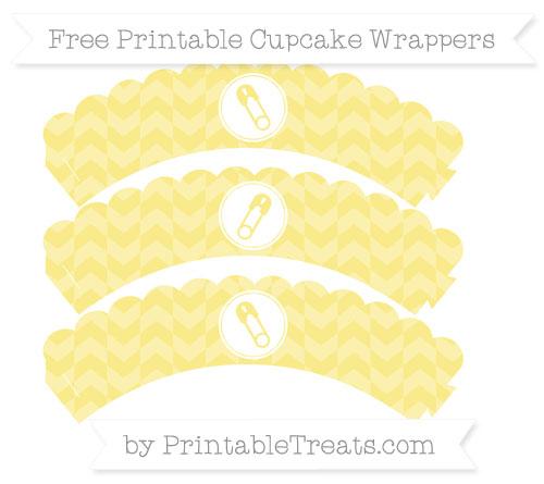 Free Pastel Yellow Herringbone Pattern Diaper Pin Scalloped Cupcake Wrappers