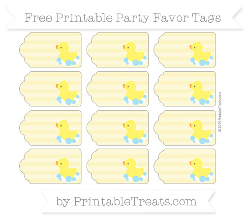 Free Pastel Yellow Horizontal Striped Baby Duck Party Favor Tags