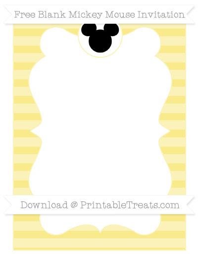 Free Pastel Yellow Horizontal Striped Blank Mickey Mouse Invitation