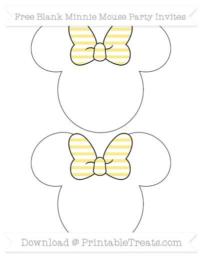 Free Pastel Yellow Horizontal Striped Blank Minnie Mouse Party Invites