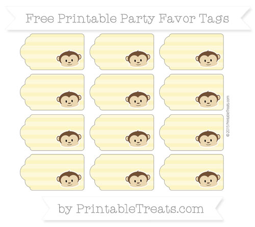 Free Pastel Yellow Horizontal Striped Boy Monkey Party Favor Tags
