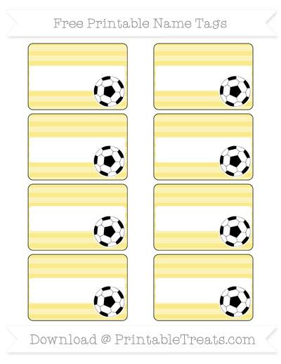 Free Pastel Yellow Horizontal Striped Soccer Name Tags