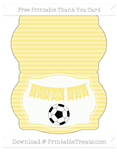 Free Pastel Yellow Horizontal Striped Soccer Thank You Card
