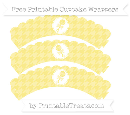Free Pastel Yellow Houndstooth Pattern Baby Rattle Scalloped Cupcake Wrappers