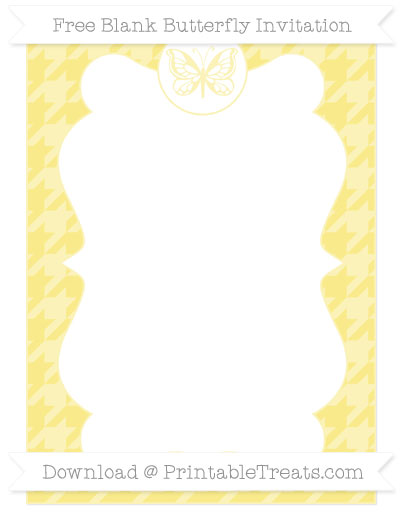 Free Pastel Yellow Houndstooth Pattern Blank Butterfly Invitation