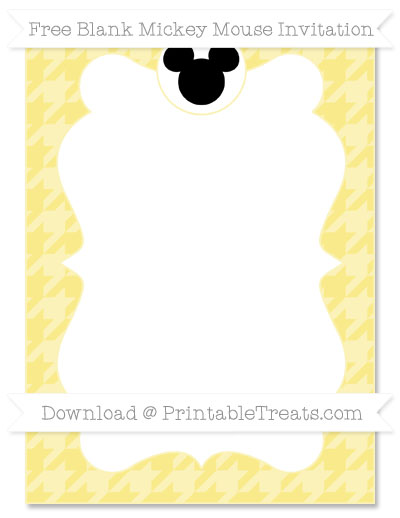 Free Pastel Yellow Houndstooth Pattern Blank Mickey Mouse Invitation
