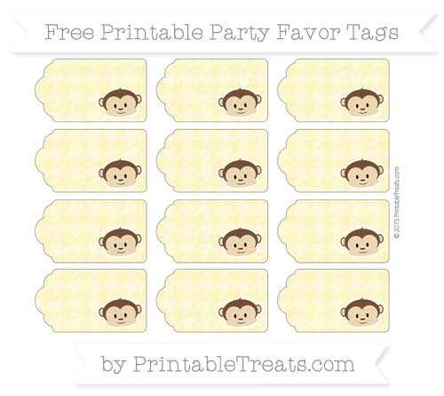 Free Pastel Yellow Houndstooth Pattern Boy Monkey Party Favor Tags
