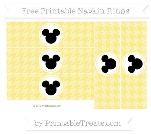 Free Pastel Yellow Herringbone Pattern Mickey Mouse Napkin Rings