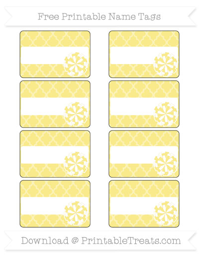 Free Pastel Yellow Moroccan Tile Cheer Pom Pom Tags