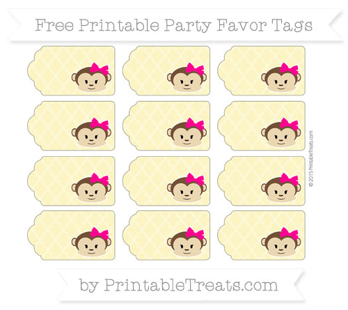 Free Pastel Yellow Moroccan Tile Girl Monkey Party Favor Tags