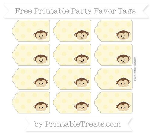 Free Pastel Yellow Polka Dot Boy Monkey Party Favor Tags