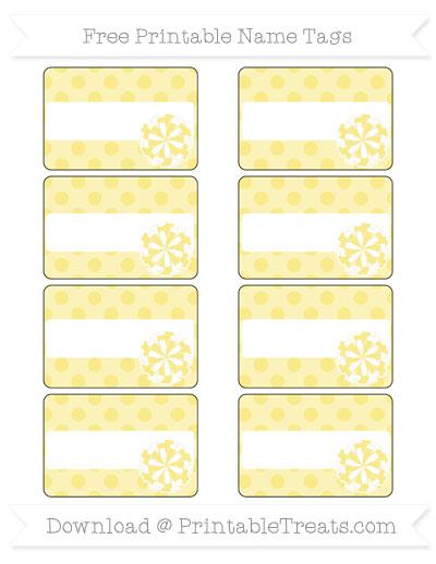 Free Pastel Yellow Polka Dot Cheer Pom Pom Tags