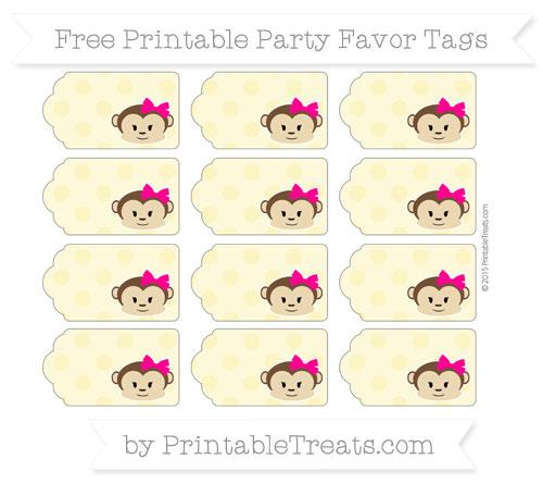 Free Pastel Yellow Polka Dot Girl Monkey Party Favor Tags