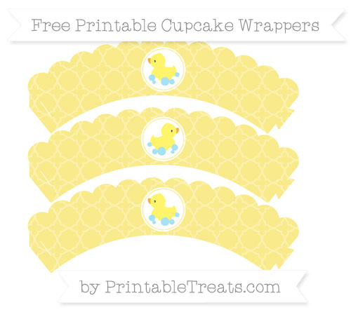 Free Pastel Yellow Quatrefoil Pattern Baby Duck Scalloped Cupcake Wrappers
