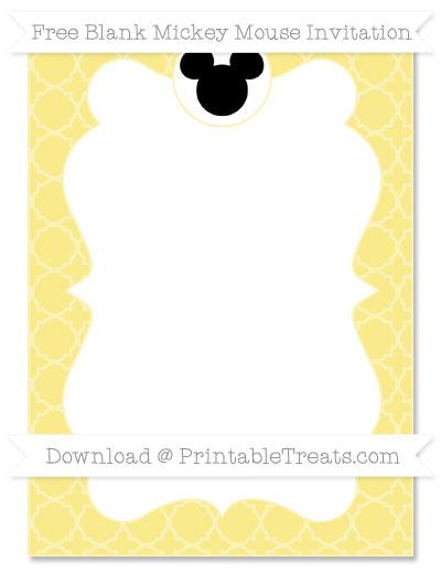 Free Pastel Yellow Quatrefoil Pattern Blank Mickey Mouse Invitation