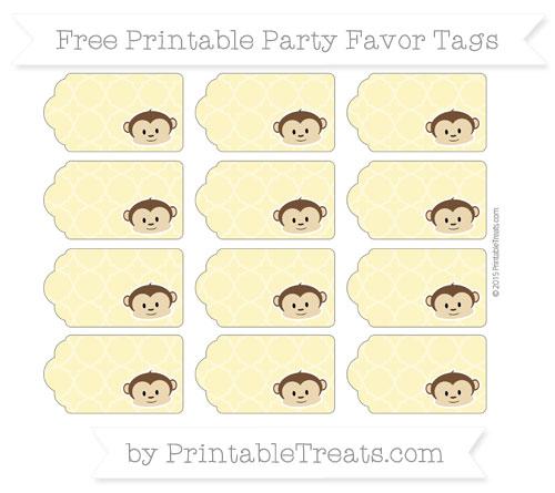 Free Pastel Yellow Quatrefoil Pattern Boy Monkey Party Favor Tags