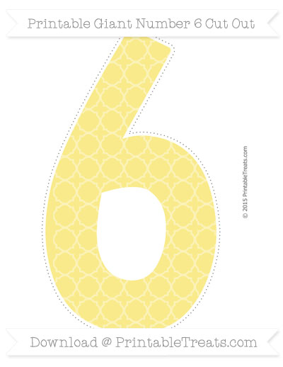 Free Pastel Yellow Quatrefoil Pattern Giant Number 6 Cut Out