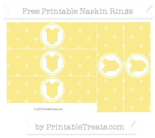 Free Pastel Yellow Star Pattern Baby Onesie Napkin Rings
