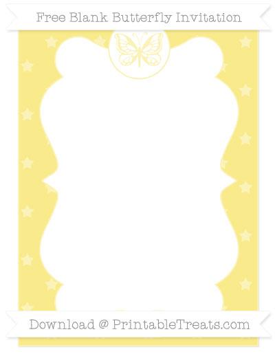 Free Pastel Yellow Star Pattern Blank Butterfly Invitation